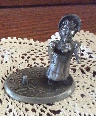 Vintage Country Girl Pewter Thimble Holder Darco # 72