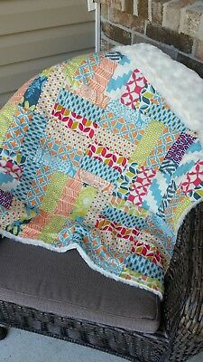 handmade baby quilt/blanket with matching decorative pillow cover Moda fabric