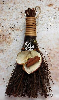 "CINNAMON APPLE BROOM Besom Handcrafted 6"" ~ Wicca Witchcraft Pagan"