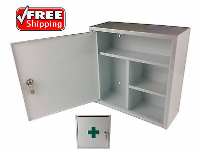 First Aid Medical Cabinet Kit Medicine Box Steel Lock Key Solid Chest