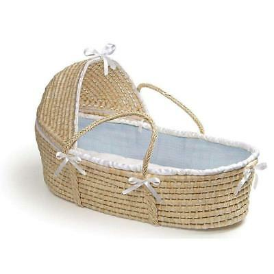 Badger Basket Natural Hooded Moses with Blue Waffle Bedding
