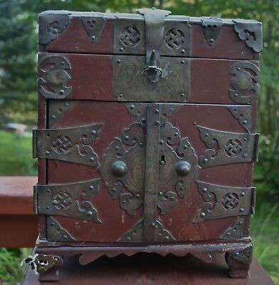 Japanese Antique Wood Suzuribako Writing Box Calligraphy Chest Edo Metal Work