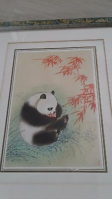 vintage Chinese painting of panda on silk signed