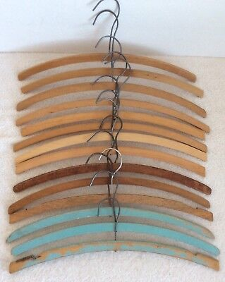 Collectable Vintage Wooden Hangers Lot of 14