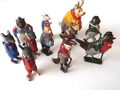 """COLLECTION OF 11 OLD LEAD CADBURY """"COCOCUB"""" ANIMAL FIGURES BY BRITAINS * c1935."""