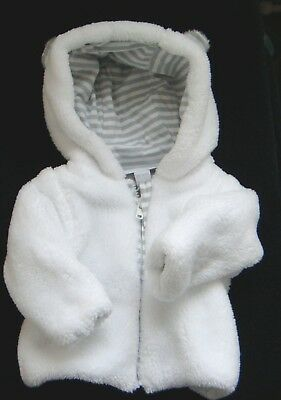 The Little White Company White Bear Ears Hooded Fluffy Tiny Baby New Jacket