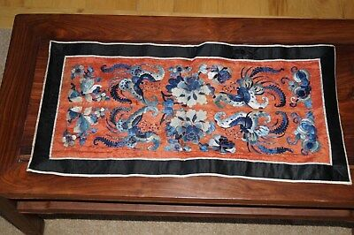 Antique Chinese Embroidery Forbidden Stitch Silk Robe Sleeve Panel Butterflies