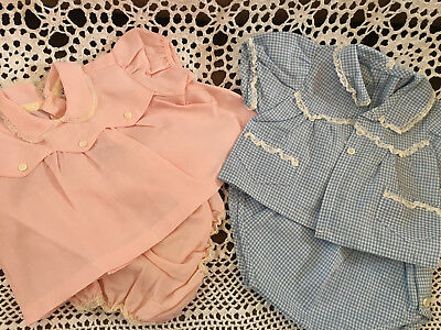 Vintage 1950s Coombs Pink  Baby Girl Set + Blue Handmade Set + Yellow Sweater