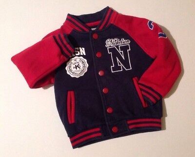 Nickelson Boys Button Up Red & Blue Long Sleeve Baseball Jacket 4-5 Years Jumper
