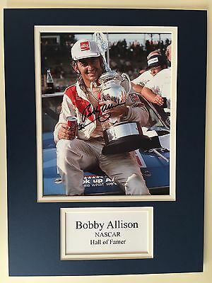 "NASCAR Bobby Allison Signed 16"" X 12"" Double Mounted Display"