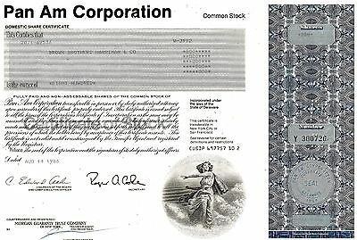 Pan Am Corporation, Domestic Share Certificate, 1986  (800 Shares)