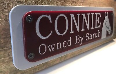 Horse Pony Stable Plaque Name Plate Personalised Horseshoe Tackroom Equestrian