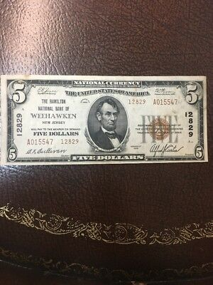 1929 $5 Type 2 Weehawken National Currency New Jersey Charter 12829