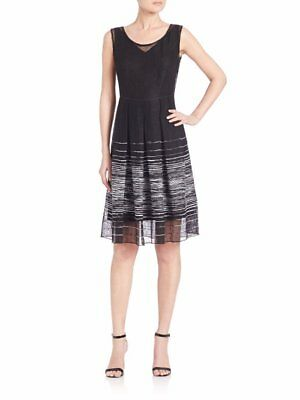 e6c0f032f1728 $448 Elie Tahari Black White Striped Linen Blend Pleated Jessy Dress 10 NWT  E453