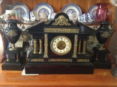Antique Marti of France marble slate mantle clock with side pieces 1800s