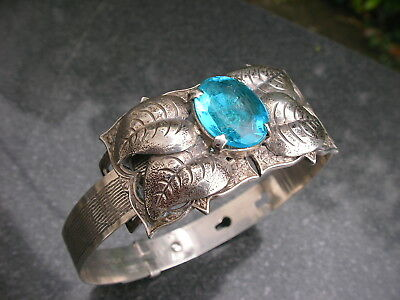 1943 Sterling Silver Belt Buckle Bracelet Old Blue Topaz Retro Bangle Ward Bros