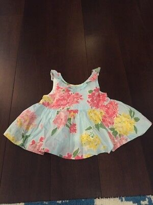 Janie and Jack Girl Size 3-6 M Months Pink Blue Floral Baby Girls Dress Top