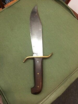 Vintage Large Western Bowie Knife With Original Leather Sheath Made In U.S.A.