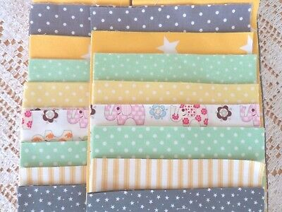 Patchwork QUILTING Sewing KIT - Yellow Grey Ditsy Fabrics Nursery Baby Quilt