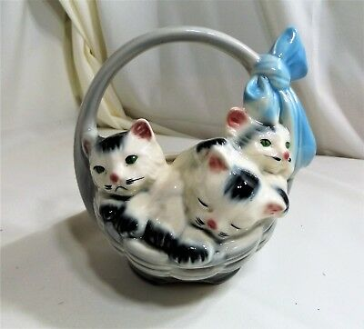 1950's vintage 3 Kittens in a Basket Ceramic Pottery Planter by American Bisque