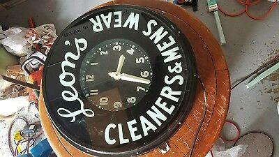 """26"""" glo dial clock leons cleaners"""