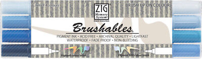 ZIG Brushable Brushpen Set in 4 Farbtönen Blau - Handlettering Stifte
