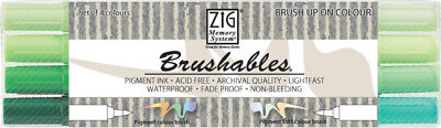 ZIG Brushable Brushpen Set in 4 Farbtönen Grün - Handlettering Stifte