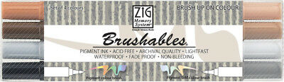 ZIG Brushable Brushpen Set in 4 Farbtönen Neutralfarben - Handlettering Stifte