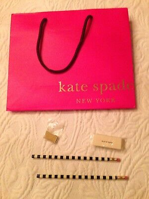 New Kate Spade Pencil Set With Eraser, Sharpener and Gift Bag - Back-to-school