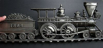 Railroad 1864 Steam Engine & Tender Cast Metal Wall Plaque by MBC Japan #1156