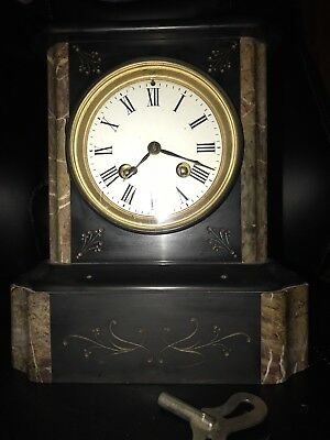 Beautiful French Slate Mantle Clock 19th Century NO RESERVE!