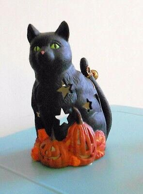 Diane Knott Ceramic Black Cat Halloween Figurine Candle Holder Large Must See!