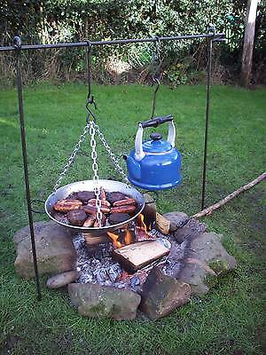 Cooking Tripod + Skillet Pan Bushcraft Camping Cooking Dutch Ovan Frying Pan