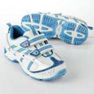 NWT-Girls Jumping Beans Leather White Blue Light Up Sneakers Athletic Shoes-sz 3