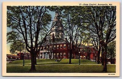 The State Capitol Building in Annapolis, Maryland State House Linen Postcard