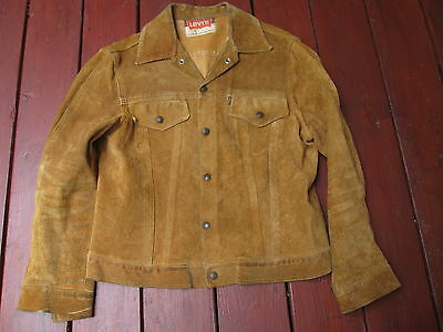 Vintage 60s Levi's Big E Suede Leather Trucker Jacket Mens Size M Brown