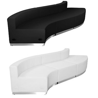 Black White Leather 3 Pc Reception Office Hotel Conference Living Rm Concave/vex