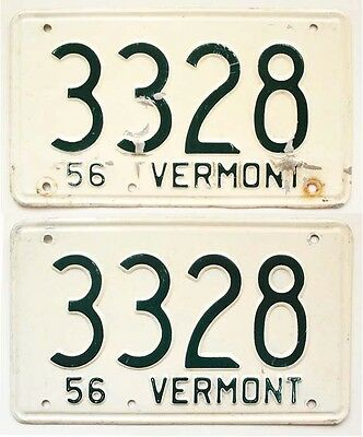 Vermont 1956 License Plate SHORTY PAIR 3328 for Classic Car, Garage, Man Cave