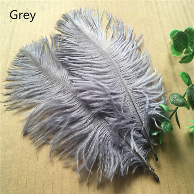 Beautiful 10pcs natural ostrich feathers 6-8 inches/15-20 cm (Grey)