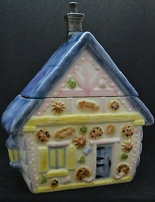 ADORABLE COTTAGE COOKIE HOUSE WITH BLUE ROOF~Lg. Ceramic Cookie Jar Handpainted
