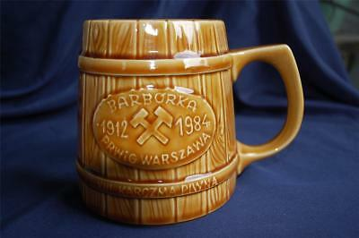 Wood Keg Design Ceramic Beer Mug Stein Polish Barborka 1912-1984 Prwig Warszawa