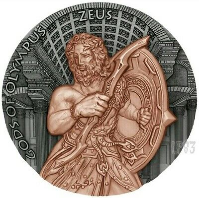 2017 2 Oz Silver ZEUS GODS OF OLYMPUS Silver Coin,24kt Rose Gold Plated.