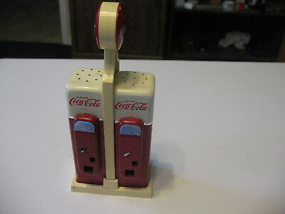 Coca Cola Vending Machine Salt and Pepper Shakers with Holder