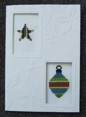 CROSS-stitch CARD decoration CHRISTMAS star HAND-made CRAFT hobby FAMILY art