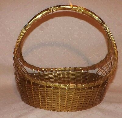 Vintage Hand Woven Brass Basket 10' By 11' - Heavy and Solid