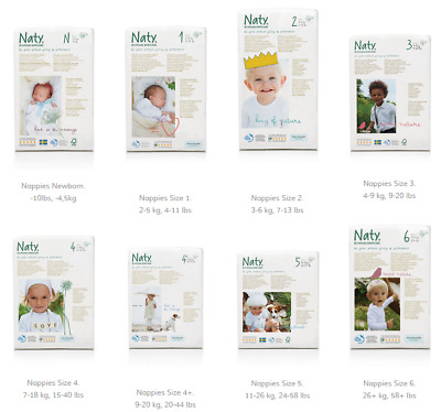 Naty by Nature Babycare ECO Nappies Diapers MONTHLY PACK - Size 1 2 3 4 4+ 5 6