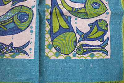 Vintage Polish Linen Retro Blue & Teal Fish Pattern Tea Towels x 2 VGC - 1970's
