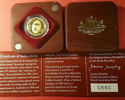 2008 Australian gold coin and silver proof coin set Scouts
