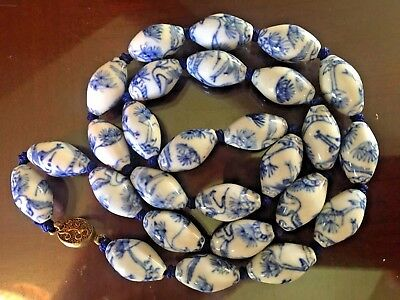 Antique Chinese Porcelain Beads Necklace.white/blue.gilt Filigree Clasp