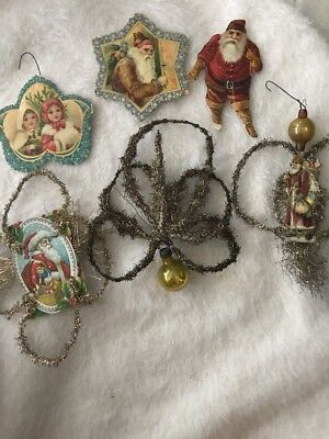 Antique Victorian Scrap And Tinsel Christmas Ornaments Santa Some With Glass WOW